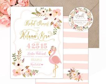 Flamingo invitation - flamingo bridal shower invitation - tropical invitation - tripical flamingo invitation - floral invitation - flamingo