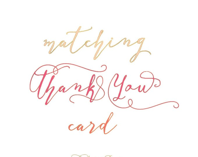 Thank you Cards - matching thank you card -  printable thank you card - stationary - notecards