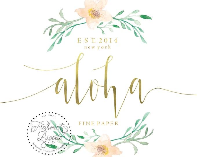 pre-made logo - logo design - calligraphy logo - logo - MAGNOLIA FLOWER logo - gold foil logo -  freshmint paperie