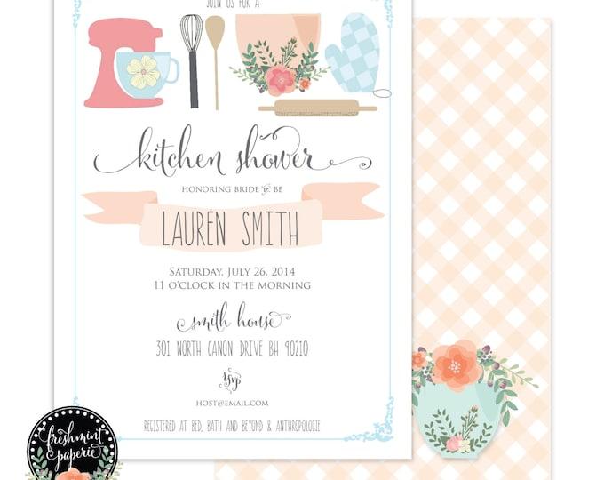 Printable invitations - bridal shower invitation - kitchen shower invitation - calligraphy - kitchen invitation - freshmint paperie