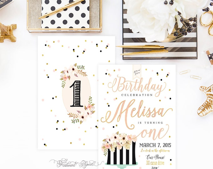 Printable invitations - first birthday invitation - birthday invitation - confetti invitation - freshmint paperie