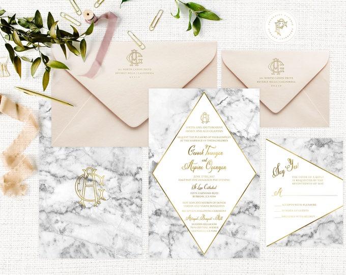 Marble Wedding Invitation | Wedding invitation | Calligraphy Wedding Invitation | Marble invitation | Marble & Gold invitation | 107