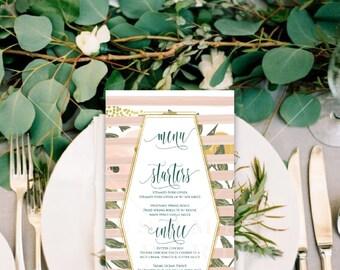 Printable menu cards - Custom menu - calligraphy Menu  - calligraphy - Freshmint Paperie