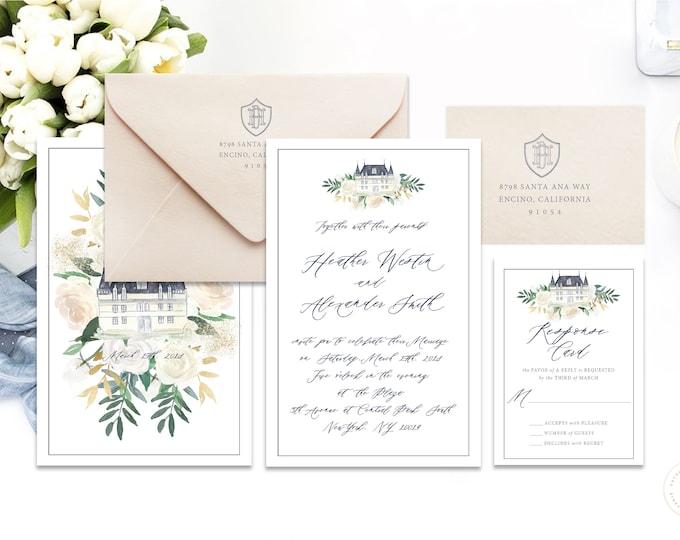 Classic Wedding Invitation | Wedding invitation | Calligraphy Wedding Invitation | Watercolor invitation | Castle  invitation | Modern | 109