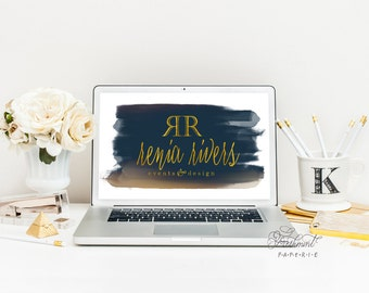 Custom logo -  logo design  - calligraphy logo - watercolor logo - business card - freshmint paperie