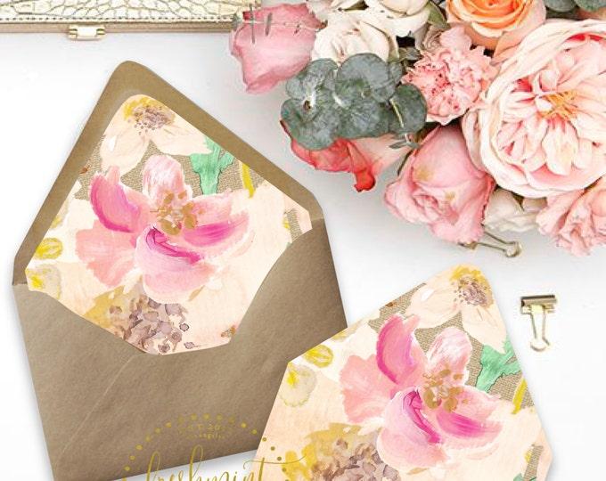 Printable envelope liners - floral envelope liner style 2 - envelope  liner  - invitations - waterecolor liners - Freshmint Paperie
