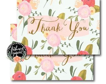 Printable thank you cards - INSTANT DOWNLOAD - calligraphy floral thank you card - calligraphy - Freshmint Paperie