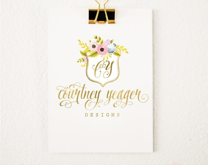 Premade logo - watercolor logo - floral crest logo - calligraphy logo - watercolor logo - floral logo - freshmint paperie