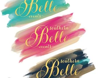 Custom pre-made logo - gold foil logo - calligraphy logo - watercolor logo - business logo - freshmint paperie