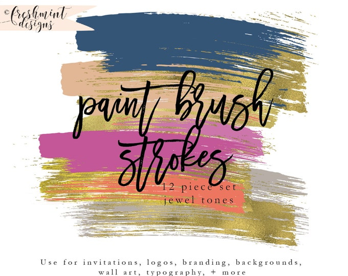 brush strokes clipart - gold brush clipart - paint clipart - ink strokes clipart - watercolor clipart - freshmint paperie