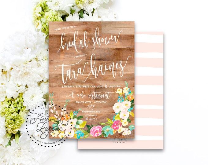 Printable invitations - bridal shower invitation - wood invitation - watercolor invitation - floral invitation - freshmint paperie