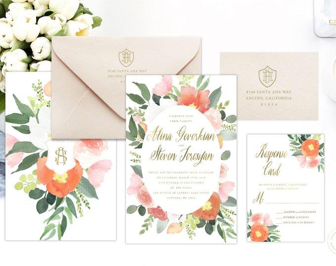 Classic Wedding Invitation | Wedding invitation | Calligraphy Wedding Invitation | Calligraphy invitation | Floral Wedding invitation | 115
