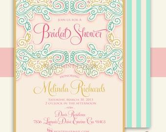 Printable invitations - bridal shower invitations - baby shower invitations - Freshmint Paperie