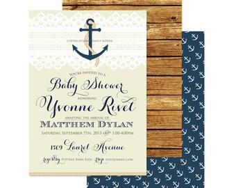 Nautical invitation - nautical baby shower invitation - lace invitation - calligraphy - anchor invitation - freshmint paperie