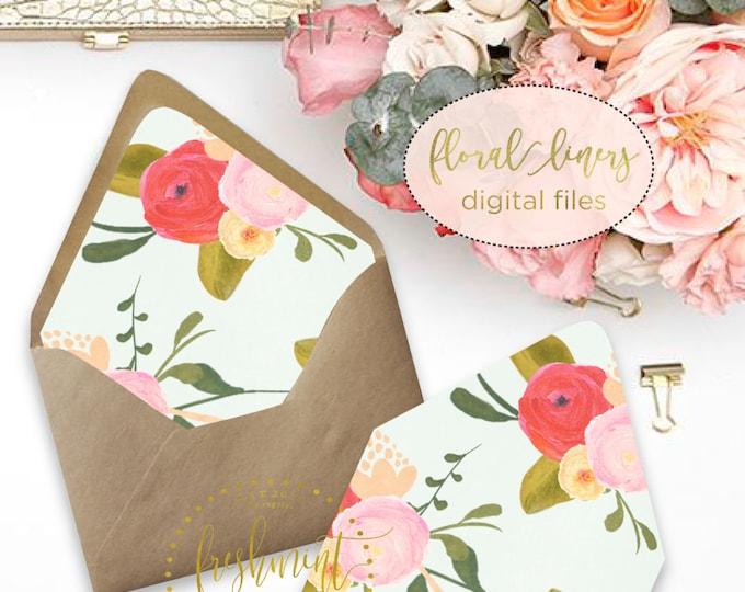 Printable envelope liners - floral envelope liner series 1 - envelope  liner  - invitations - waterecolor liners - Freshmint Paperie