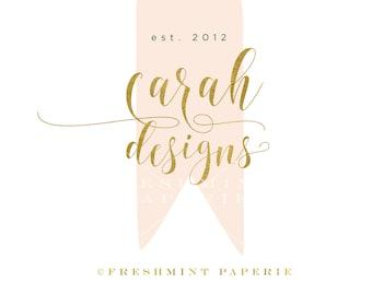 Custom pre-made logo - logo design - calligraphy logo - logo - watercolor peach logo - gold foil logo -  freshmint paperie