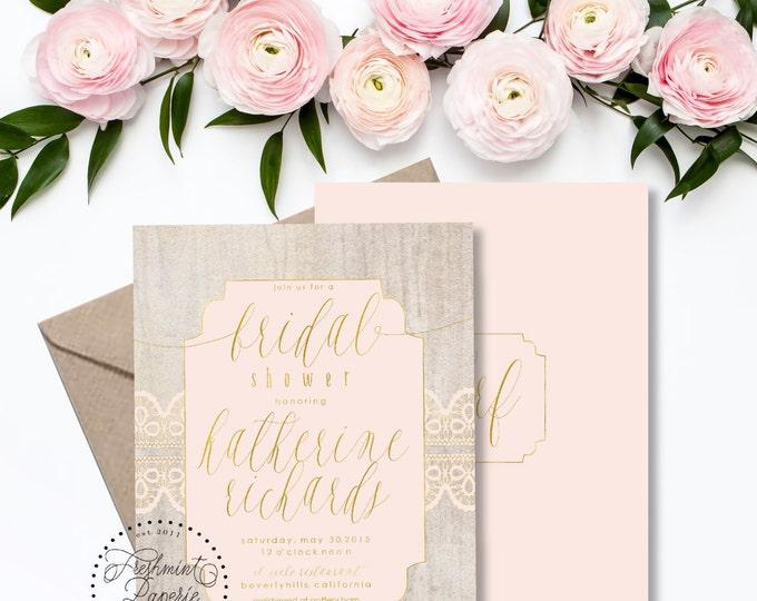 Printable invitations - bridal shower invitation - wood texture invitation - handwritten calligraphy - blush invitation - freshmint paperie