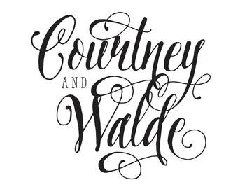 Custom name calligraphy text - wedding monogram - calligraphy  - custom envelope seals - wedding stationery