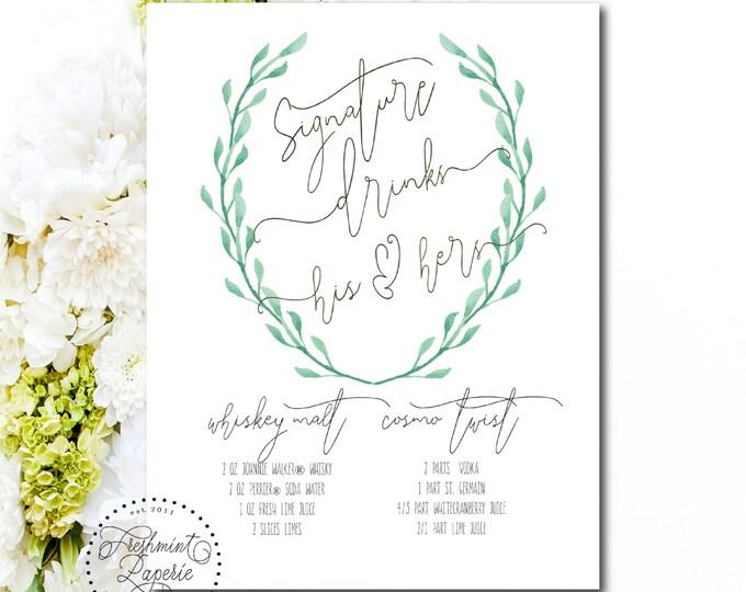 Printable cocktail menu - bar sign - drink menu  - cocktail sign - bar menu - calligraphy drink menu - Freshmint Paperie