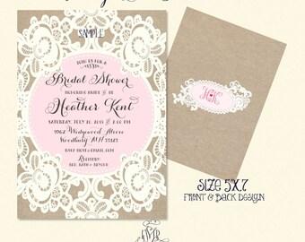 bridal shower Invitation - burlap lace invitation -  printable invitation - calligraphy invitation