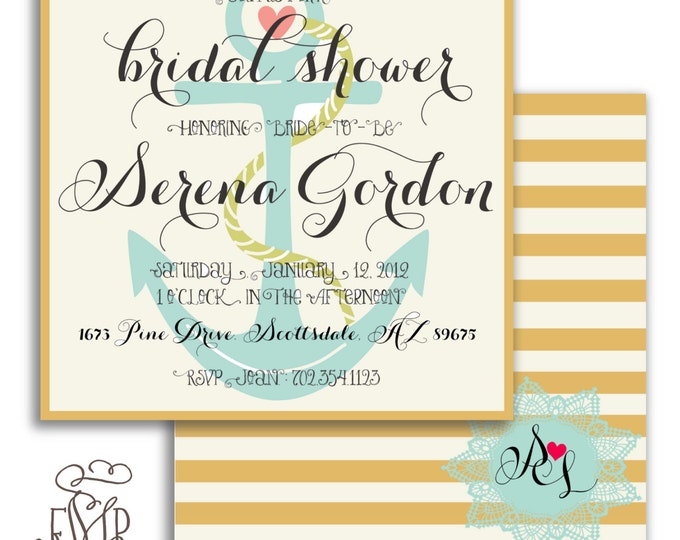 Printable invitations - nautical invitations - Doily - calligraphy - bridal shower invitations - anchor - lighthouse