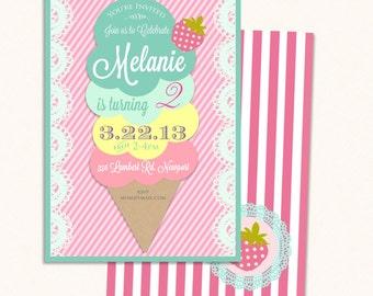 Ice cream birthday invitation - ice cream invitation - ice cream cone invitation - ice cream theme - Freshmint Paperie