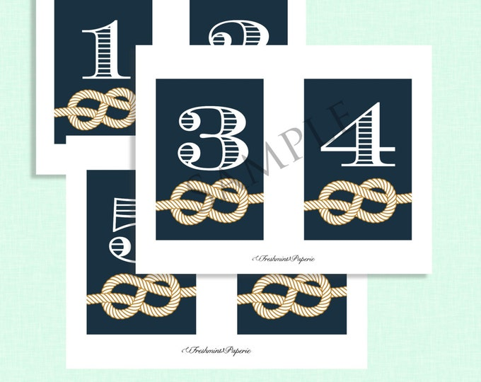 Printable Nautical Table numbers - INSTANT DOWNLOAD - Nautical theme - Freshmint Paperie