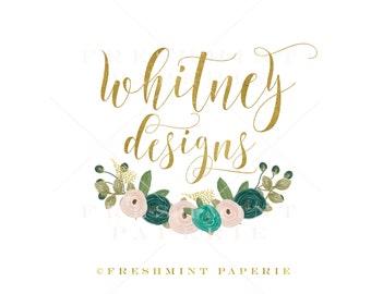 Custom pre-made logo - logo design - calligraphy logo - logo - watercolor floral logo - gold foil logo -  freshmint paperie