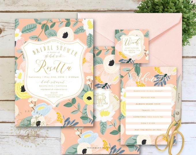 Printable invitations - bridal shower invitation - peach floral invitation - watercolor floral invitation -  invitation - freshmint paperie