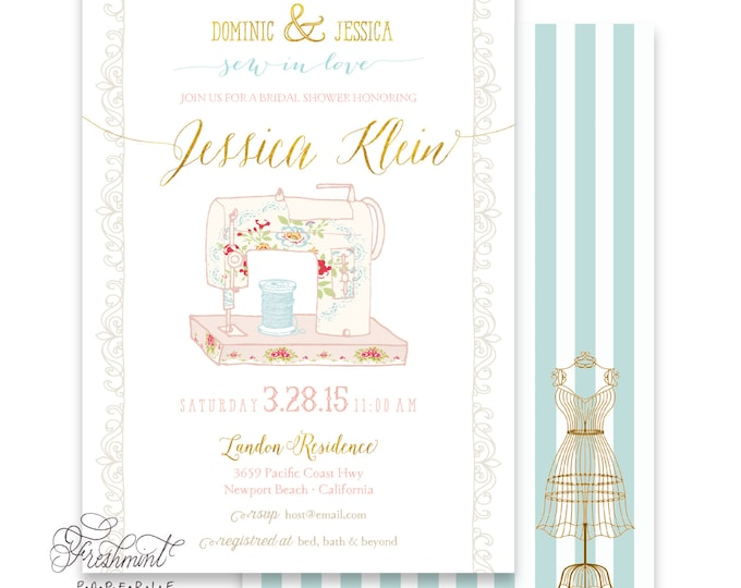 Sewing invitations - bridal shower invitation - sew in love invitation - sewing bridal shower - sew in love - freshmint paperie