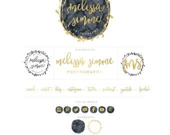 style 303 - watercolor logo - black & gold logo - calligraphy logo - watercolor logo - circle logo - freshmint paperie