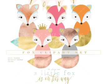 watercolor fox clipart - fox clipart - woodland animal clipart - watercolor clipart - woodland clipart - freshmint paperie
