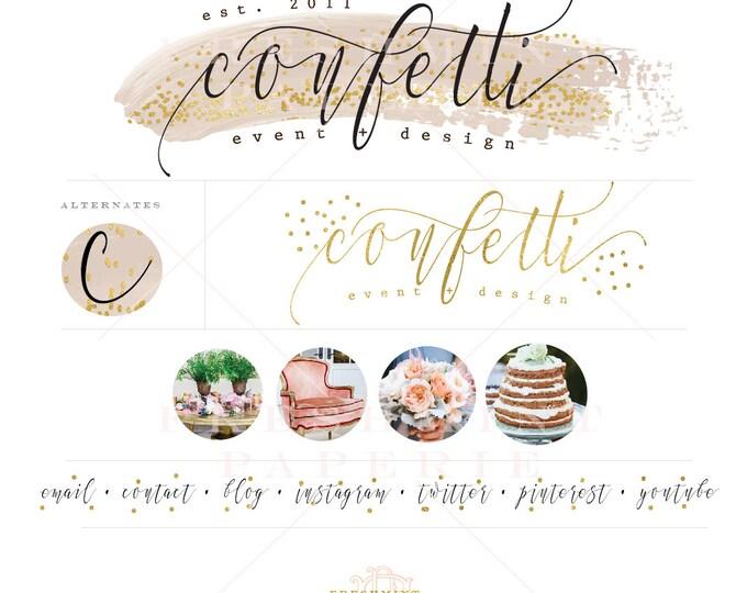 Custom pre-made logo - confetti design - confetti logo design - calligraphy style logo - freshmint paperie