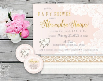 Printable invitations - lamb baby shower invitation - sheep invitation - calligraphy - lace invitation - freshmint paperie
