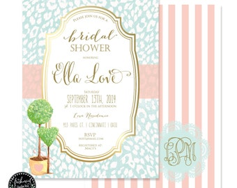 Printable invitations - bridal shower invitation - flower invitation - calligraphy - topiary invitation - freshmint paperie