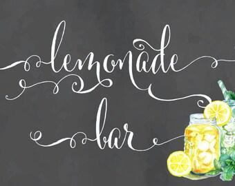 Calligraphy lemonade bar sign - lemonade bar - lemonade chalk sign - freshmint paperie