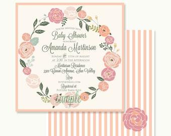 Floral invitation - bridal shower invitation - flowers invitation - baby shower invitation - Freshmint Paperie