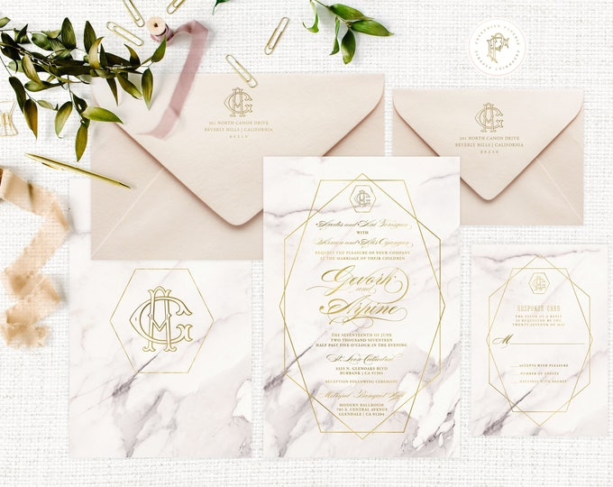 Marble Wedding Invitation | Wedding invitation | Calligraphy Wedding Invitation | Marble invitation | Marble & Gold invitation  | 108