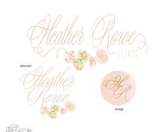 customized logo - cursive logo -  logo design  - calligraphy logo - business logo - business card - watercolor - freshmint paperie