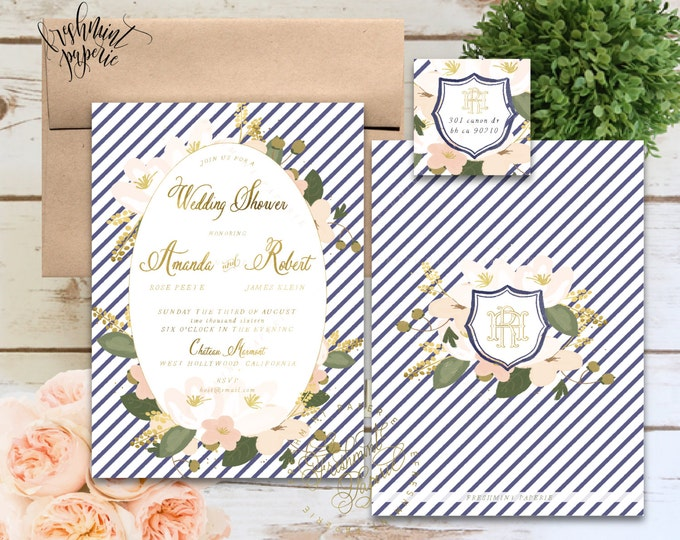 wedding shower - floral invition - bridal shower invitation - navy stripes invitation - baby shower - watercolor - freshmint paperie