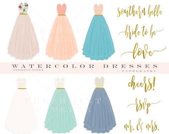 watercolor dresses - dress clipart - flowing dress clipart - watercolor clipart - typography - freshmint paperie