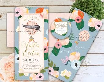 Ticket invitation - first birthday invitation - floral invitation - hot air balloon invitation -  HOT AIR BALLOON - freshmint paperie
