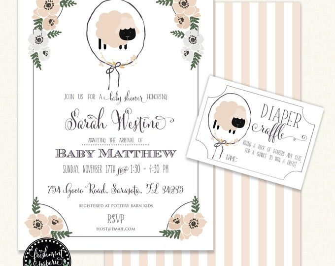 Sheep Invitation - baby shower invitation - baby lamb invitation - calligraphy invitation - lamb invitation - Neutral baby shower invitation
