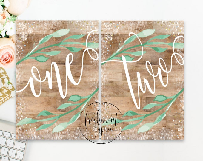 printable calligraphy table numbers - woodlands theme table numbers - calligraphy table numbers - wood calligraphy - freshmint paperie