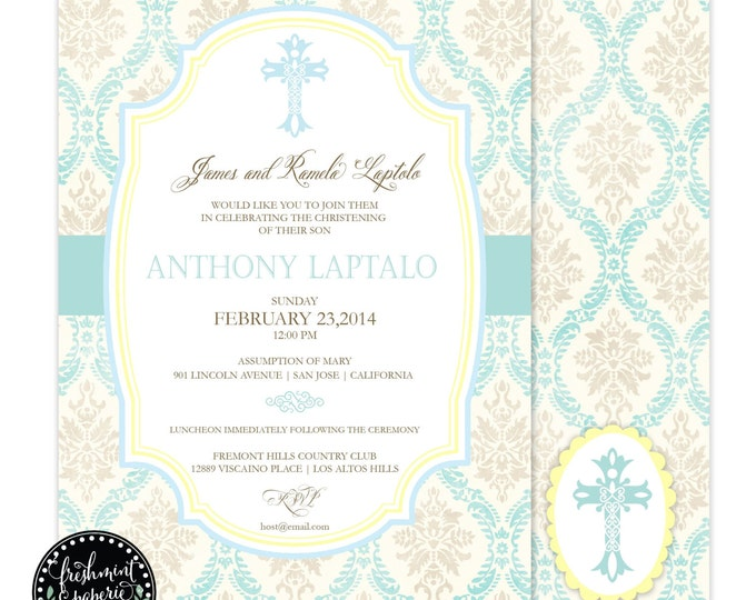 Baptism invitations - baptism invitation - christening Invitation - cross invitation - religious invitation -  baptism - cross invite - 110