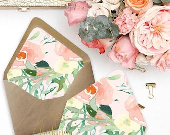 Printable envelope liners - floral envelope liner style 3 - envelope  liner  - invitations - waterecolor liners - Freshmint Paperie