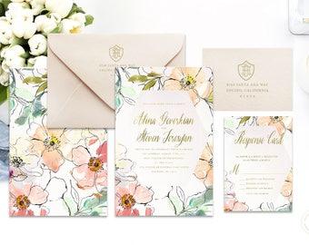 Classic Wedding Invitation | Wedding invitation | Calligraphy Wedding Invitation | Calligraphy invitation | Floral Wedding invitation | 114