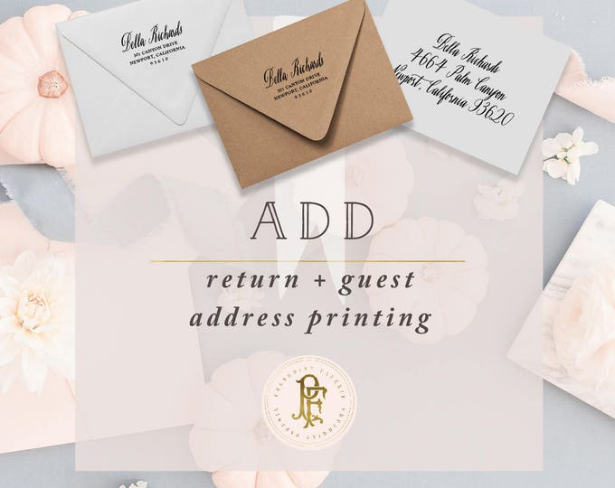 professional printing services - Upgrade to ADD Return + Guest addressing on envelopes - freshmint paperie