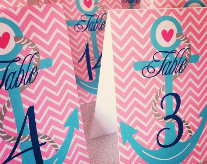 Printable Chevron & Nautical Table numbers - INSTANT DOWNLOAD - Nautical theme - Freshmint Paperie