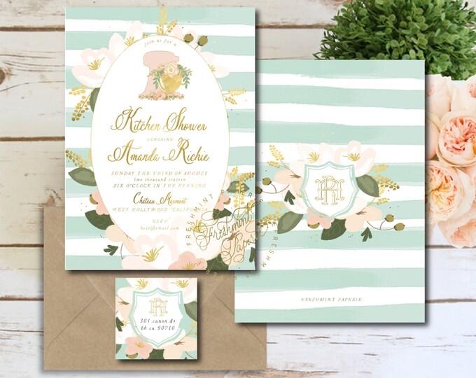 kitchen shower invitation - mixer kitchen shower invitation - kitchen shower - floral mixer invitation - freshmint paperie